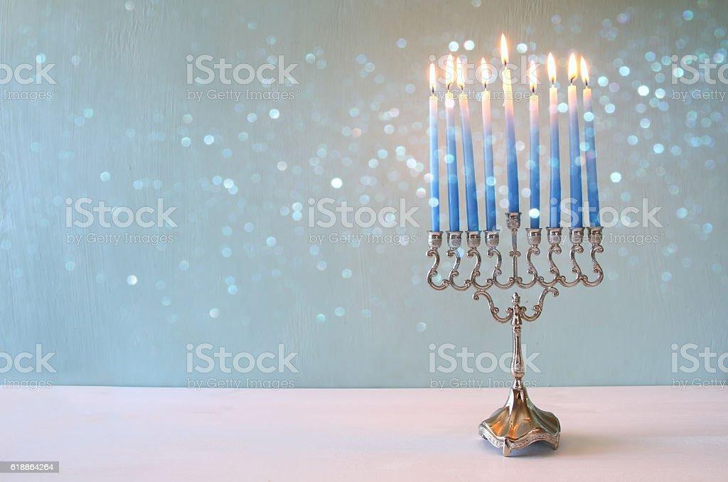 jewish holiday Hanukkah background with menorah stock photo
