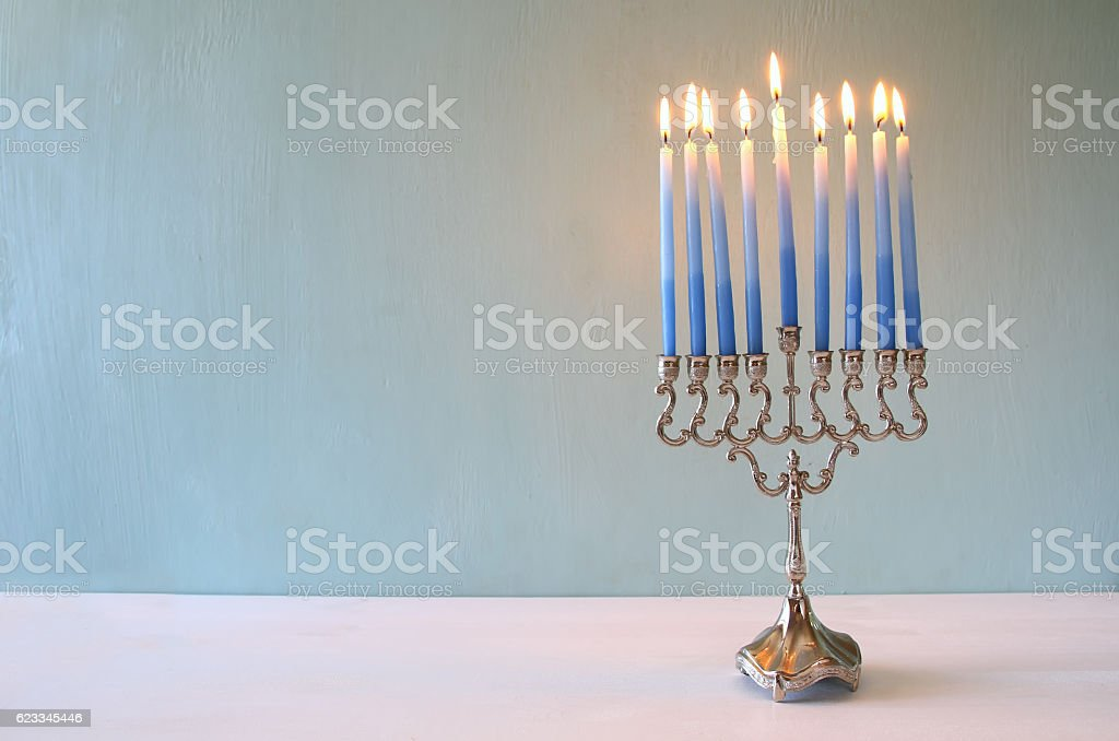 jewish holiday Hanukkah background with menorah stock photo