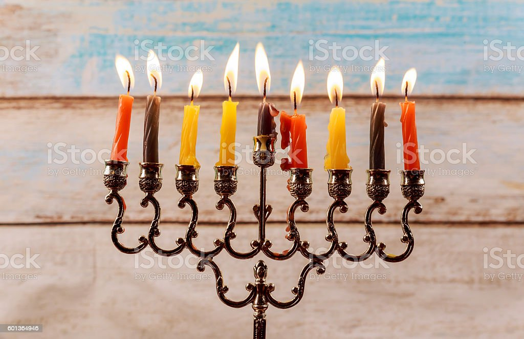Jewish holiday Hanukkah creative background with menorah. View from...