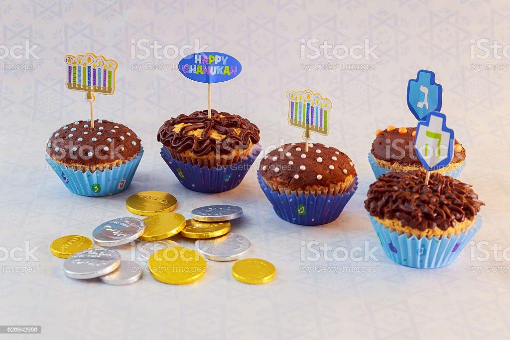 Jewish holiday Hanukkah cupcakes decorated stock photo