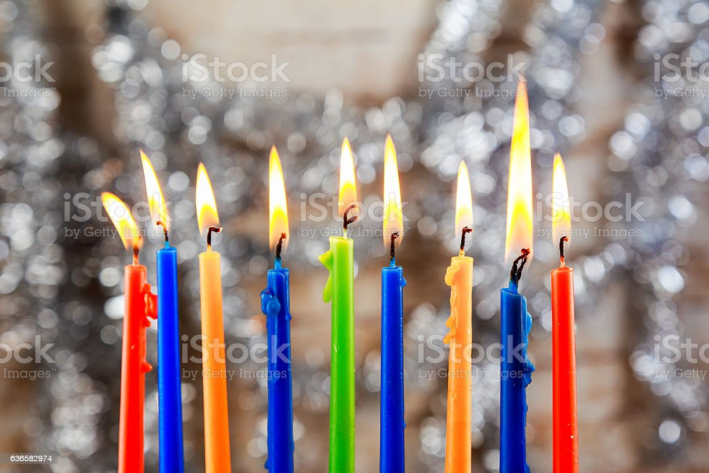 jewish holiday Hanukkah with menorah over wooden background stock photo