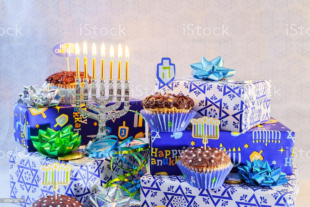 Jewish holiday jewish holiday Hanukkah with menorah traditional...