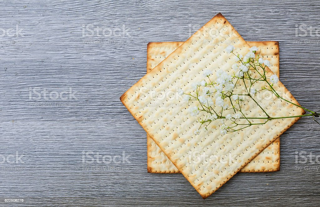 Jewish holiday Matzoh - jewish passover bread stock photo
