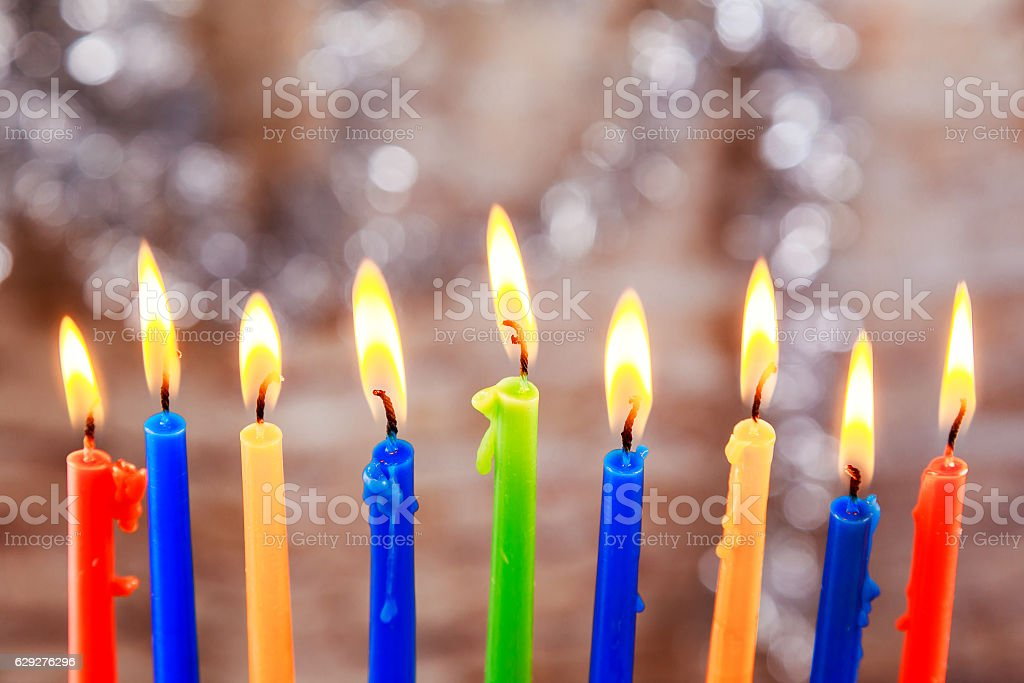 Jewish holiday Menorah Beautiful  with burning candles on light stock photo