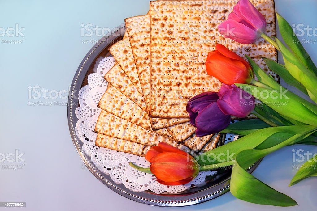jewish holiday of Passover and its attributes stock photo