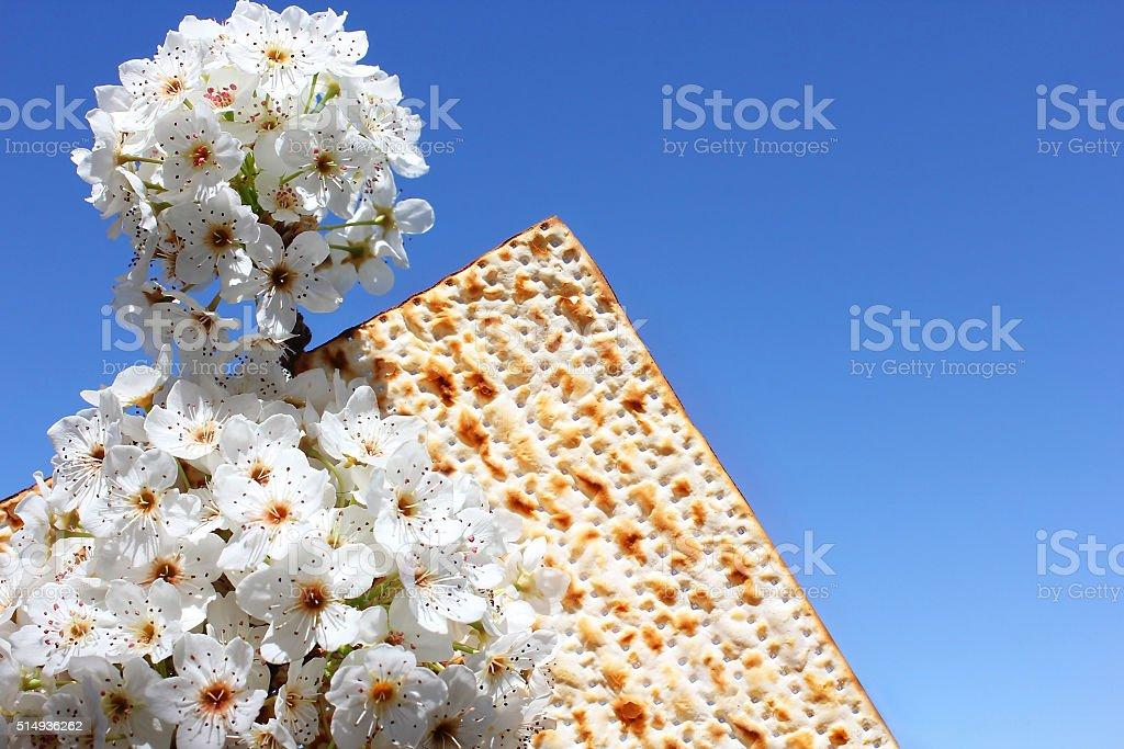 jewish holiday of Passover and matzo stock photo