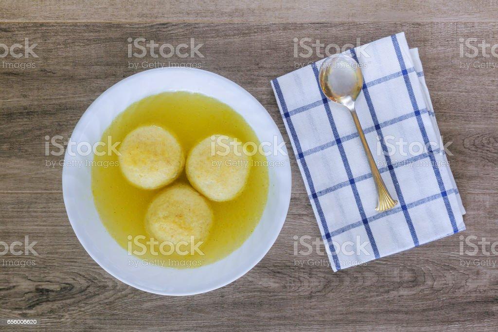 Jewish Holiday symbol soup matzoh ball stock photo