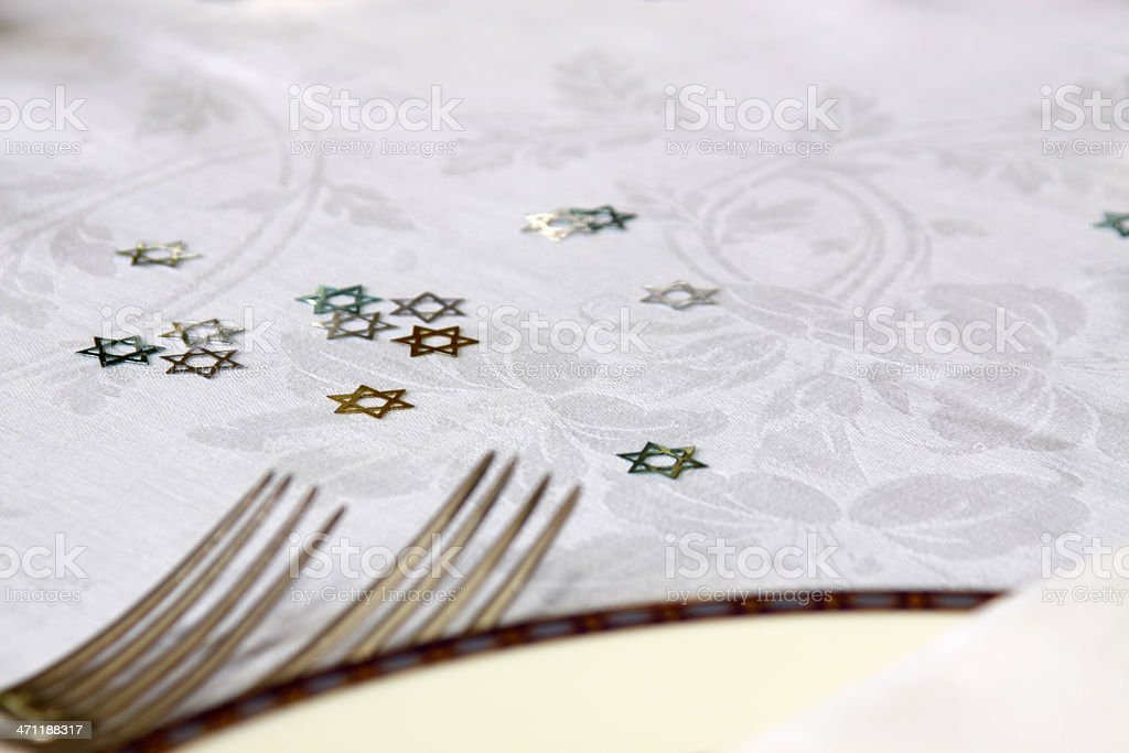 Jewish holiday table setting stock photo