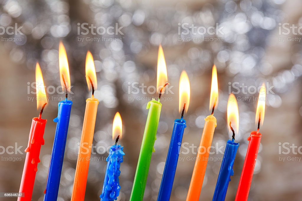 Jewish holiday Tallit Lighting Hanukkah Candles celebration stock photo