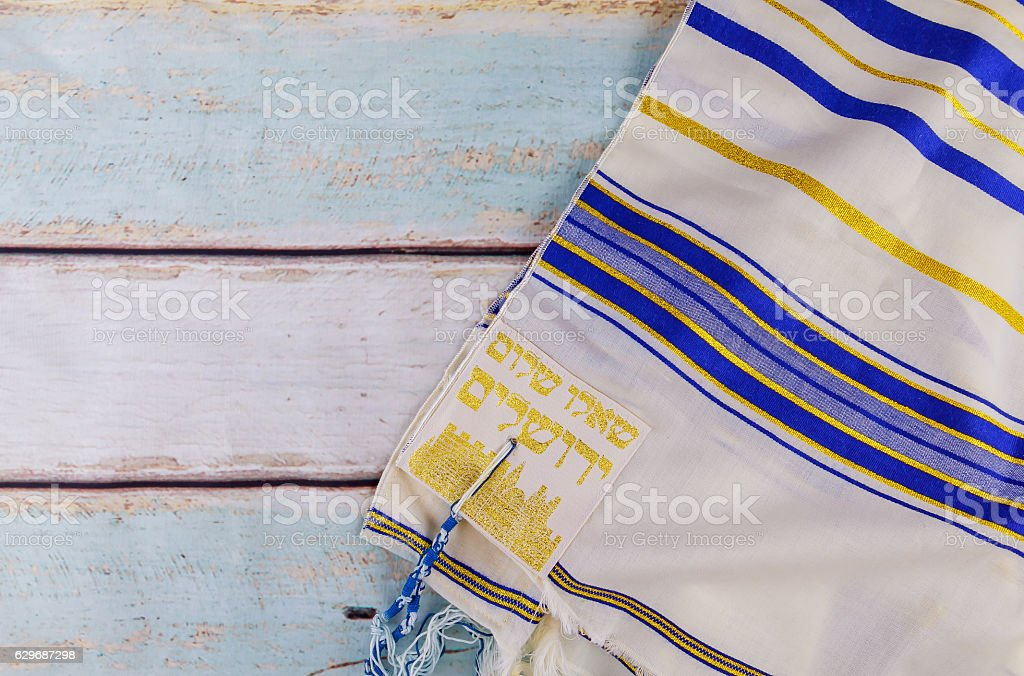 Jewish holiday Tallit, shabbat Prayer Shawl religious symbol stock photo