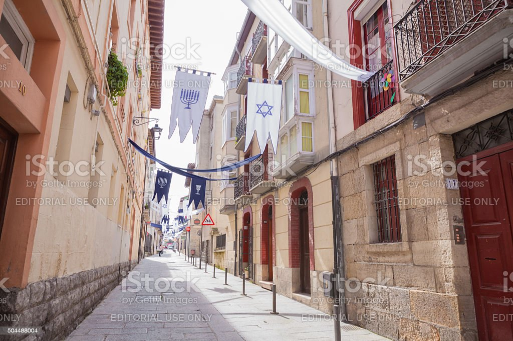 Jewish holidays on the street of Vitoria-Gasteiz stock photo