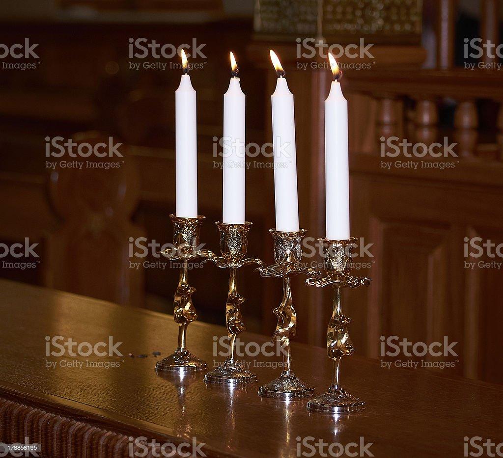 jewish hupa candles in synagogue royalty-free stock photo