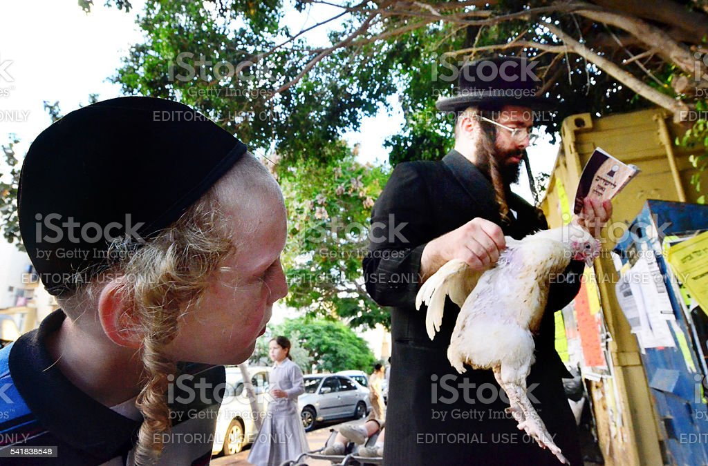 Jewish Life Cycle Rituals - Kaparot Ceremony stock photo