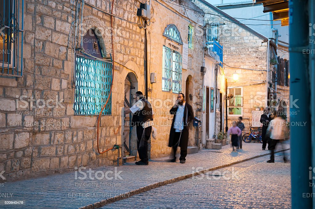Jewish life in Safed, Israel stock photo
