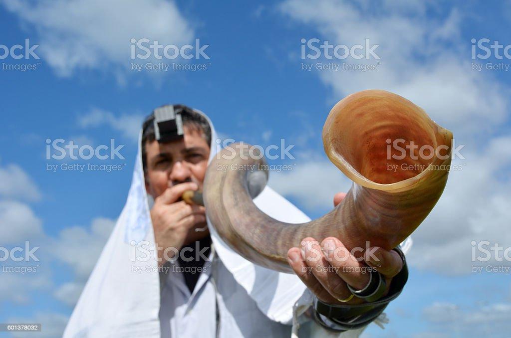 Jewish man blow Shofar stock photo