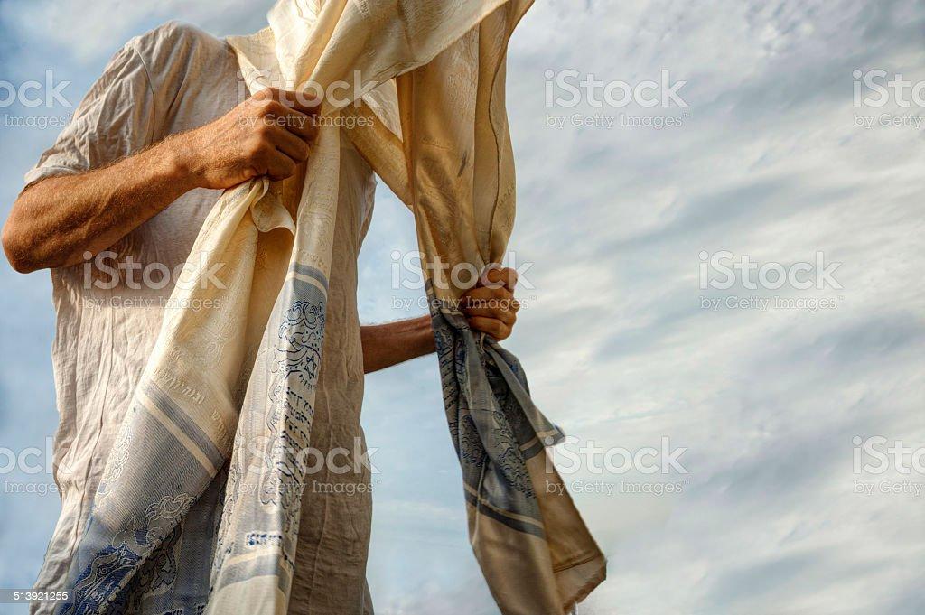 Jewish man praying stock photo