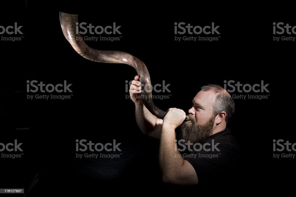 Jewish Man With Shofar stock photo
