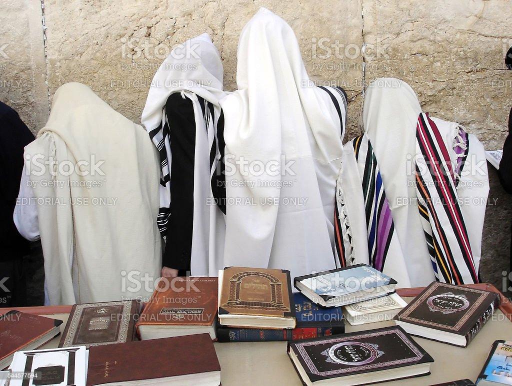 Jewish Men Pray Wailing Wall stock photo