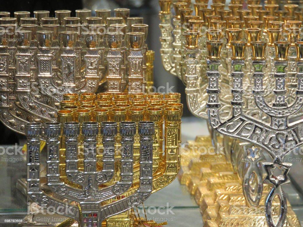 Jewish Menorah stock photo