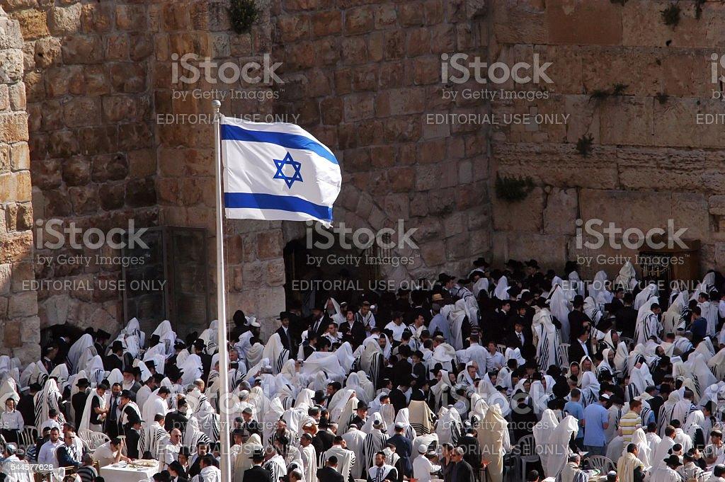 Jewish orthodox pray at the western wall Jerusalem stock photo