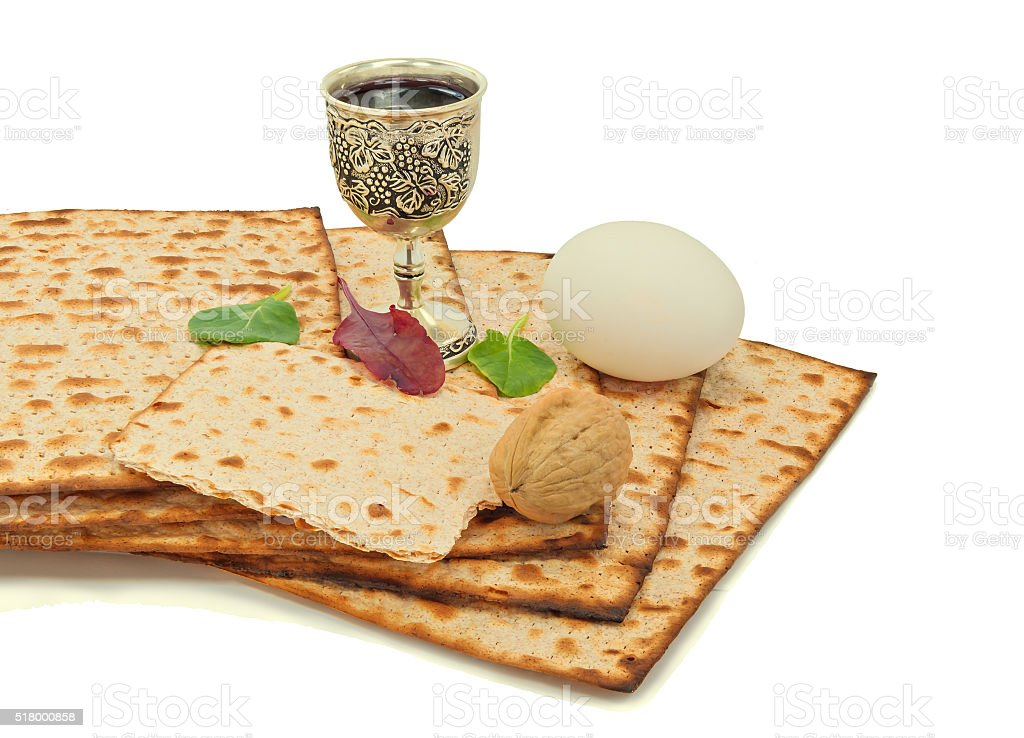 Jewish Passover food symbols stock photo