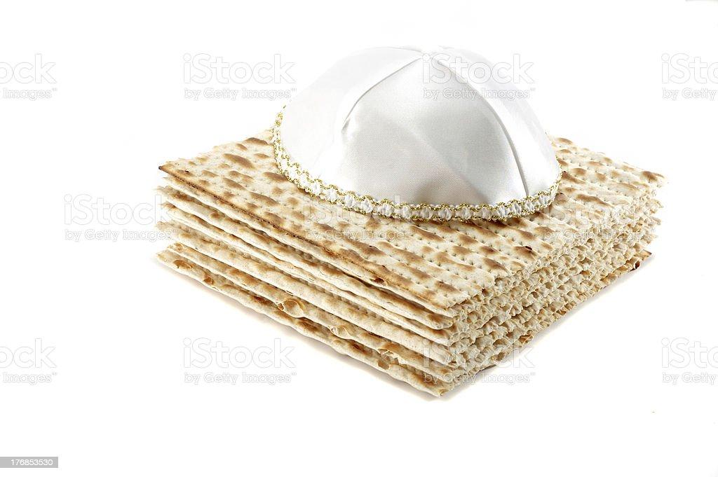 Jewish Passover holiday still life with matzoh and kippah royalty-free stock photo