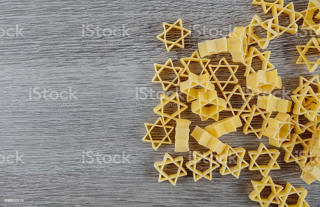 Jewish pasta for broth buckwheat and bow-tie , a traditional  dish stock photo