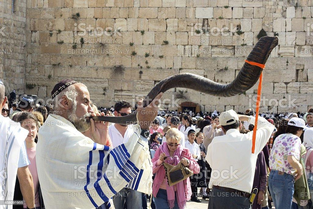 Jewish Pesach celebration at the Wailing Wall royalty-free stock photo