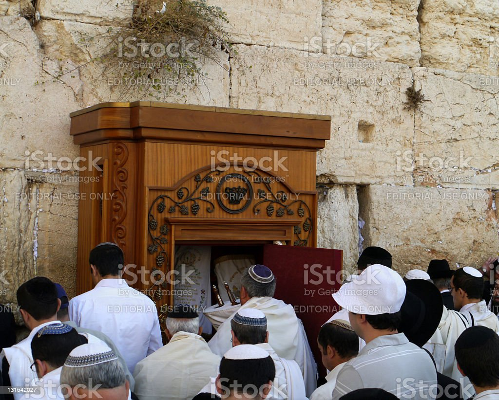 Jewish Prayers at Western Wall stock photo