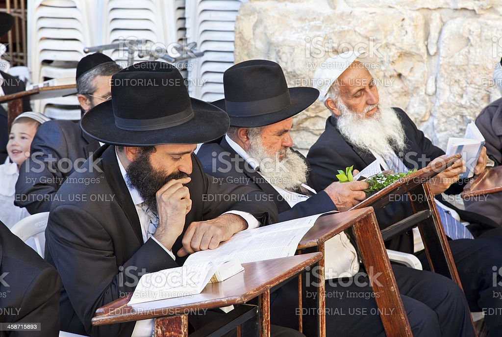 Jewish praying at the western wall, Jerusalem, Israel. stock photo