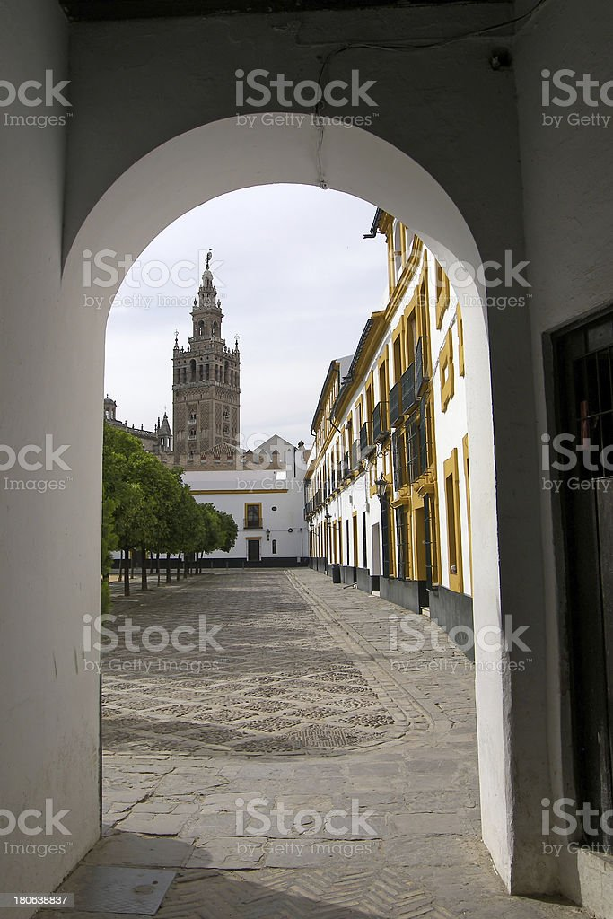Jewish Quarter view of Cathedral La Giralda at Seville, Spain royalty-free stock photo