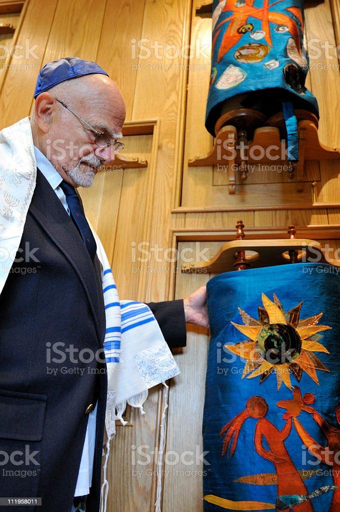 Jewish Rabbi Handles Torahs stock photo