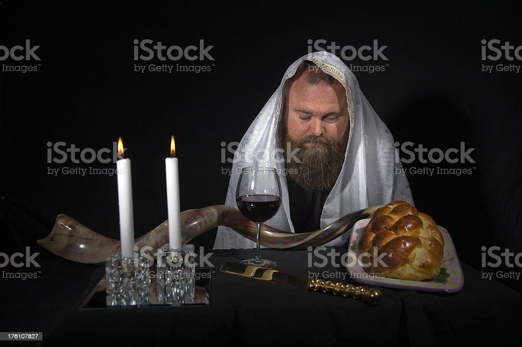Jewish Rabbi Wearing Tallit Praying stock photo