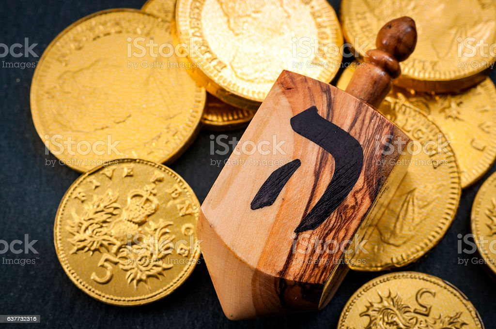 Jewish religious symbols for Hanukkah stock photo
