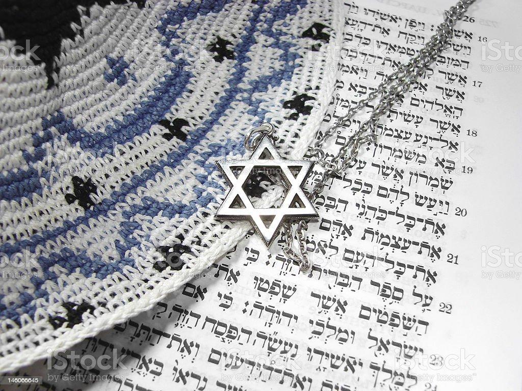 Jewish religious symbols from top stock photo