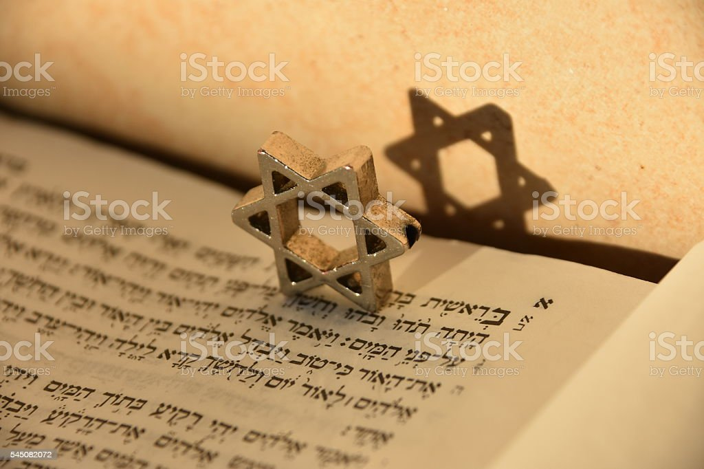Jewish script and Star of David stock photo