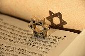 Jewish script and Star of David