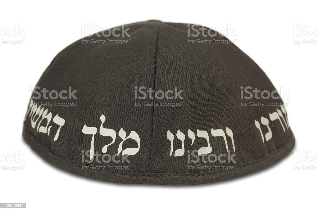 Jewish skull cap with inscription royalty-free stock photo