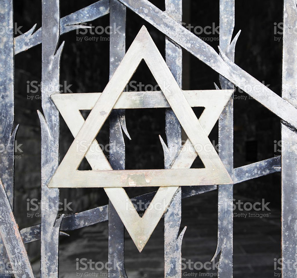 Jewish star on a Fence stock photo