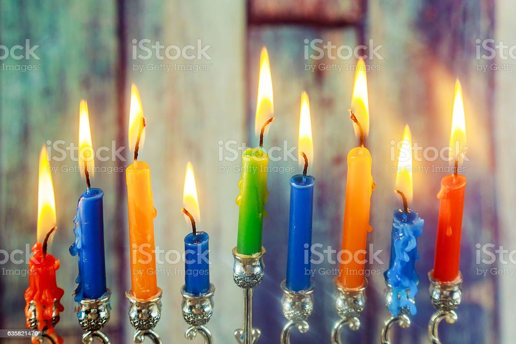 jewish symbol Hanukkah,  holiday the Festival of Lights stock photo