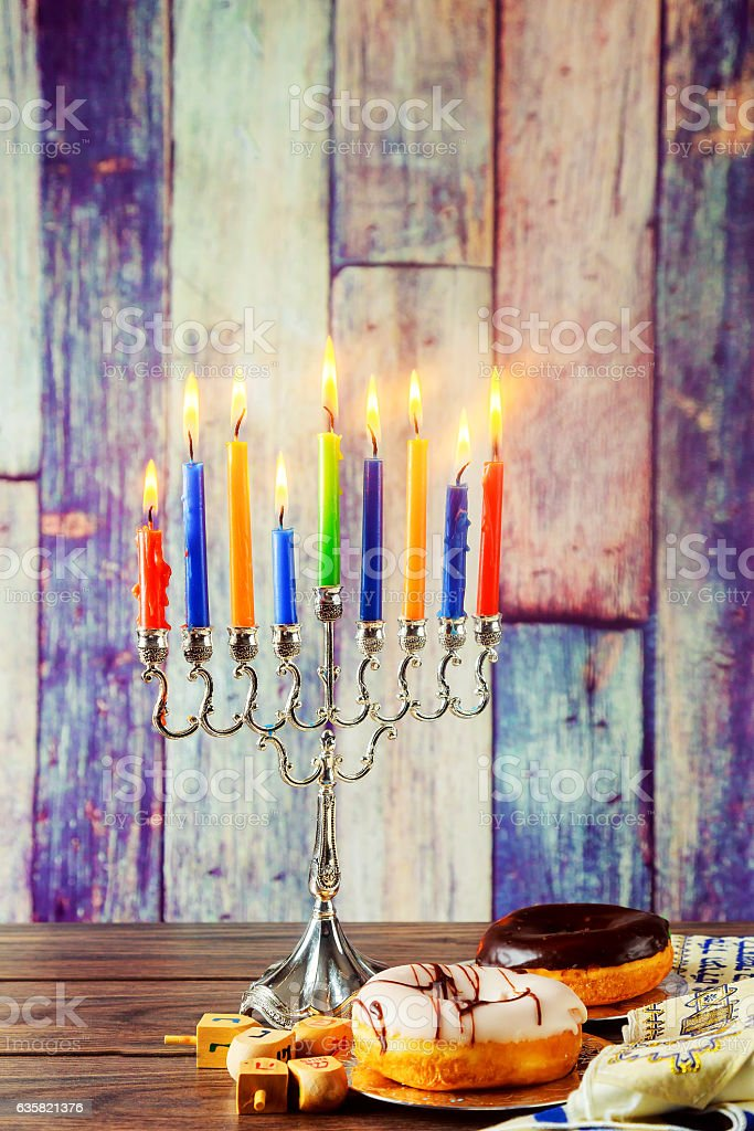 jewish symbol Hanukkah with menorah traditional stock photo