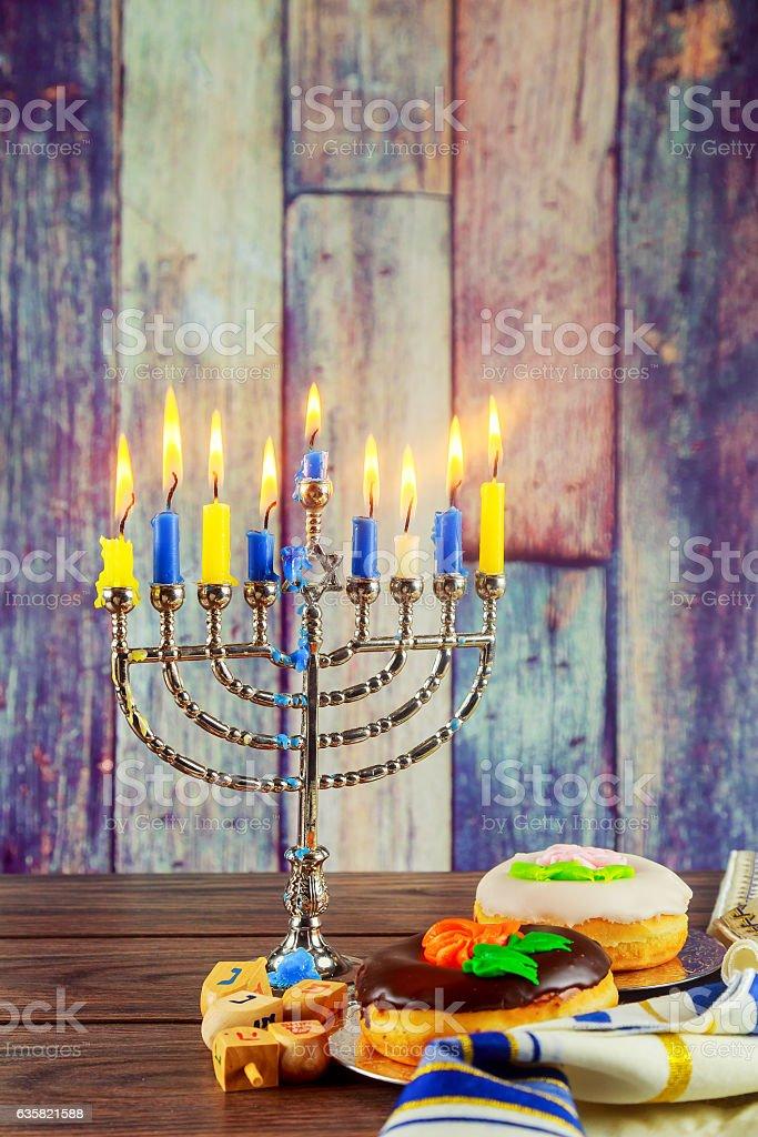 jewish symbols Hanukkah, the  Festival of Lights stock photo