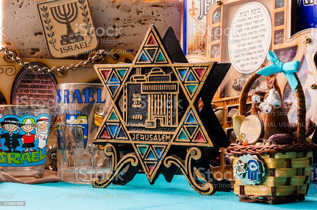 Jewish traditional attributes, souvenirs, mascots. stock photo