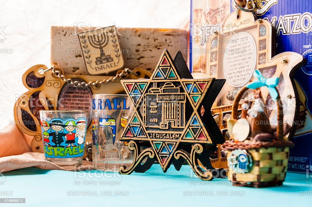 Jewish traditional attributes, souvenirs, mascots. stock photo