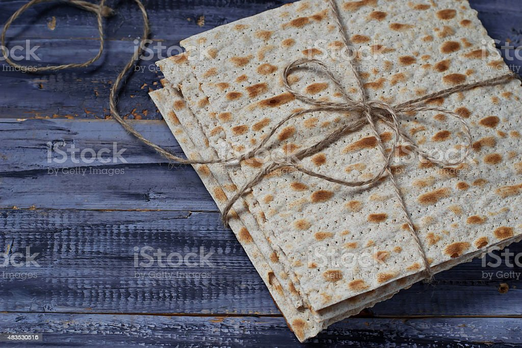 Jewish traditional Passover matzo bread stock photo