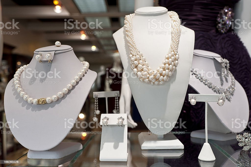 jewlery window display stock photo
