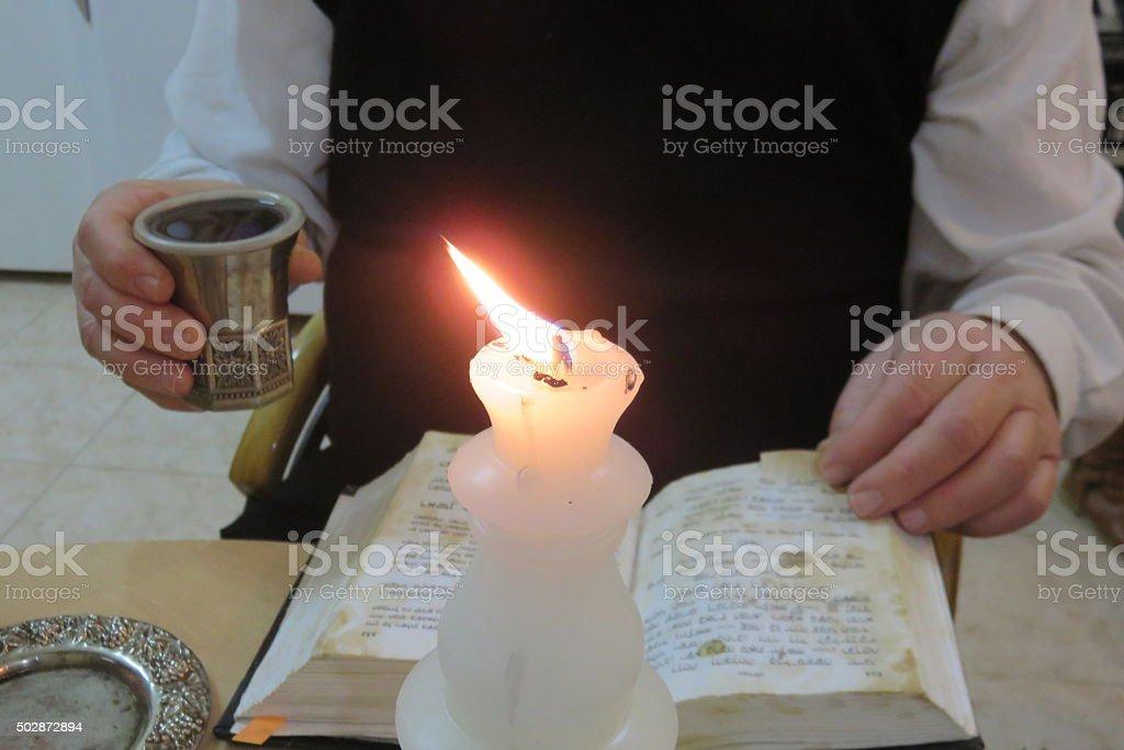 Jews pray, Rabbi prays on Saturday stock photo