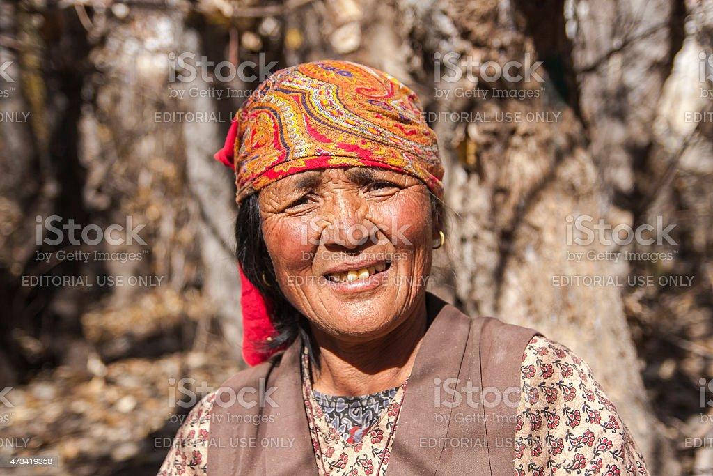 Jhong village resident around Muktinath stock photo