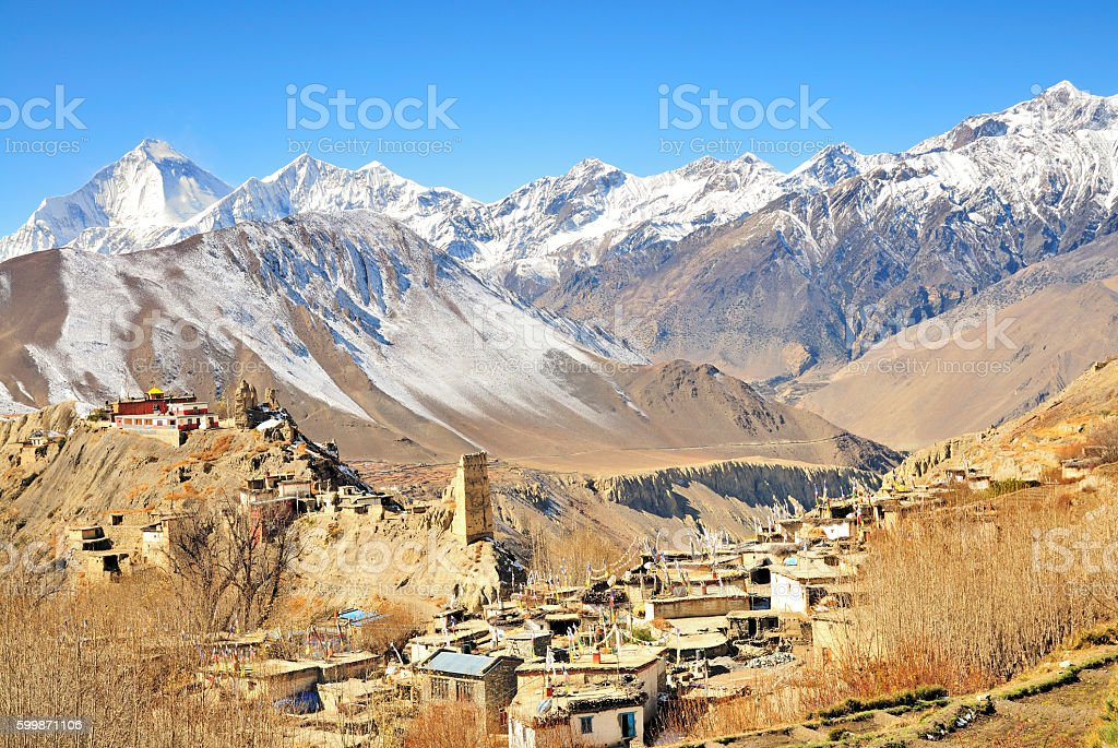 Jhong (Dzong) with Dhaulagiri in the background, Mustang, Nepal stock photo