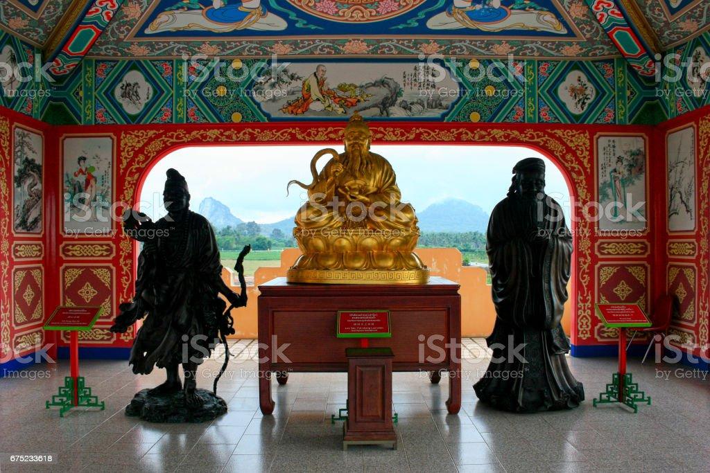 Ji Gong, Lao Tzu and Confucius statues stock photo